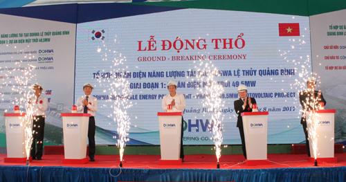Tập đoàn Dohwa động thổ xây dựng Tổ hợp dự án điện năng lượng tái tạo ven biển Nam Quảng Bình